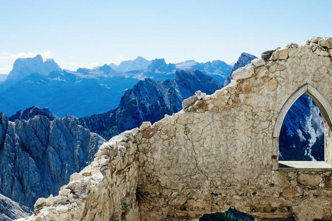 Ruined building, Via Ferrata Cristobal, Cortina d'Ampezzo.