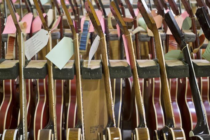 Rack of guitars, Gibson Guitar Factory.