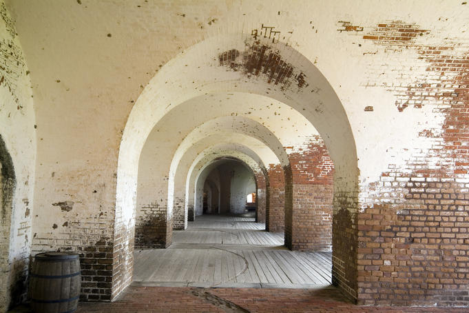 Old Fort Jackson brick fortification arches (1908).