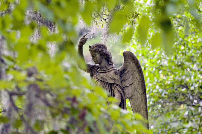 Angel sculpture at Bonaventure Cemetery.