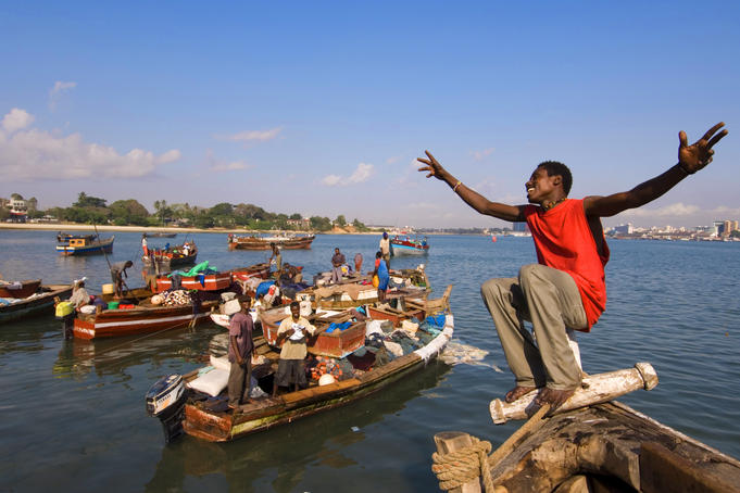 Tanzania, Dar es Salaam. Fishing boats at Kibongoni. 2005