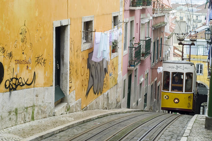 Elevador da Bica, furniculars in Lisbon.