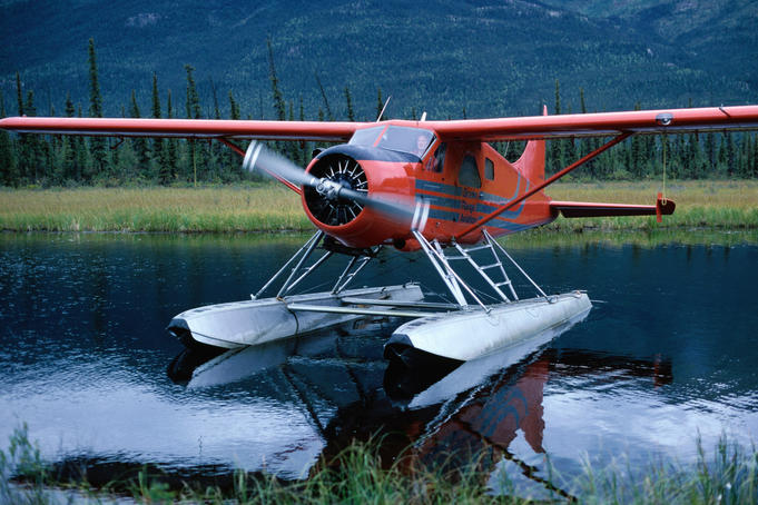 Float plane landed on lake.