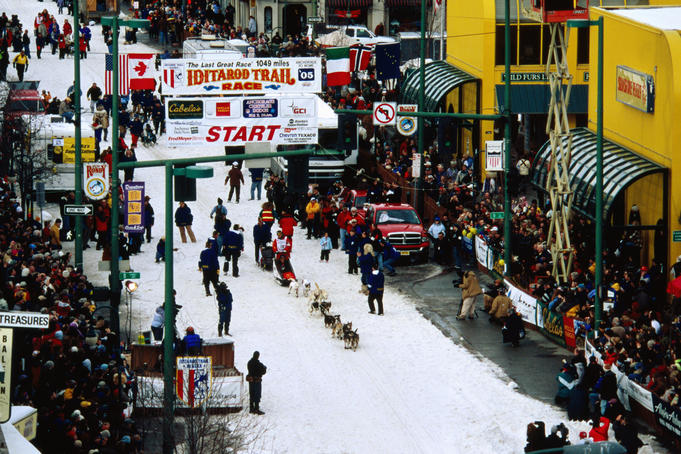 Overhead of start of Iditarod Sled Dog Race.