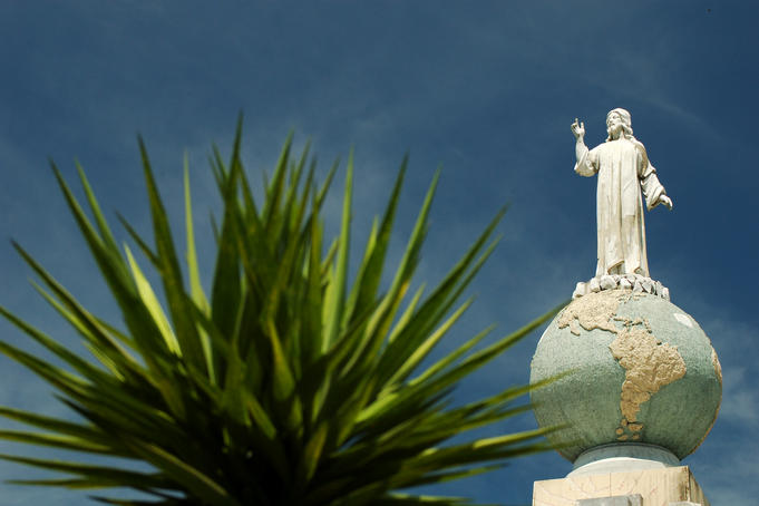 "Statue ""El Salvador del Mundo"" (Saviour of the World), symbol of El Salvador, depicting Jesus standing on top of the world."