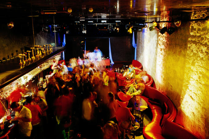 Overhead of patrons in Labirint nightclub.