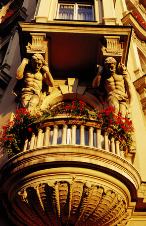 Architectural detail on exterior of Palace Hotel.