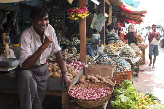 Vegetable vendor, Pettah Market.