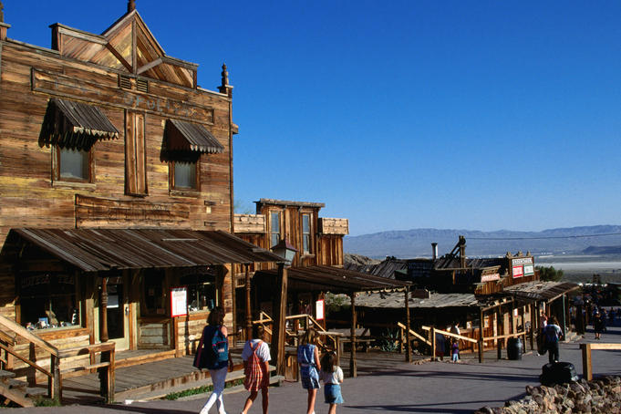 Visitors walking through Ghost Town, Calico.