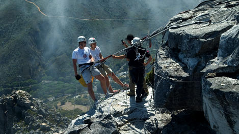 Abseilers at Table Mountain, Cape Town