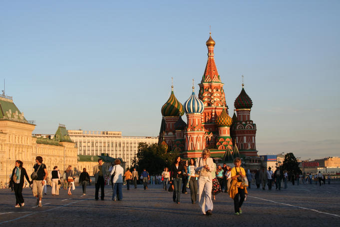 People in front of St Basil's Cathedral.