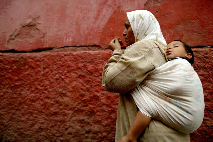 Mother and child in the narrow alleys of the Kasbah.