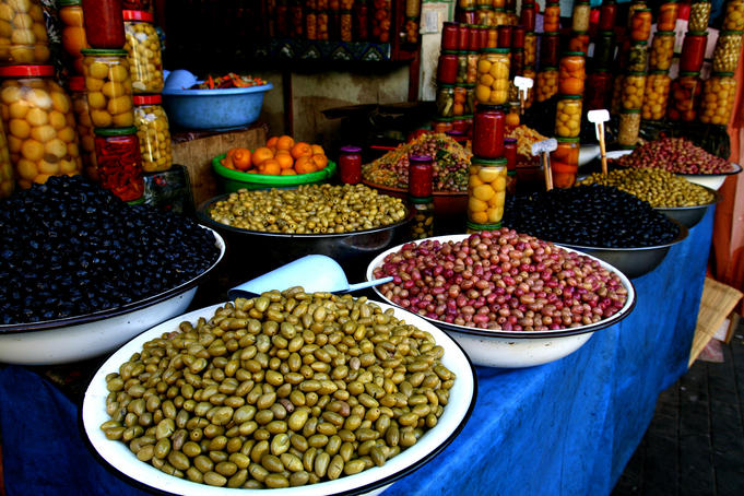 Piles of olives for sale in olive souk.