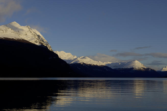 Snow covered hills above Lake Roca in Tierra del Fuego National Park.