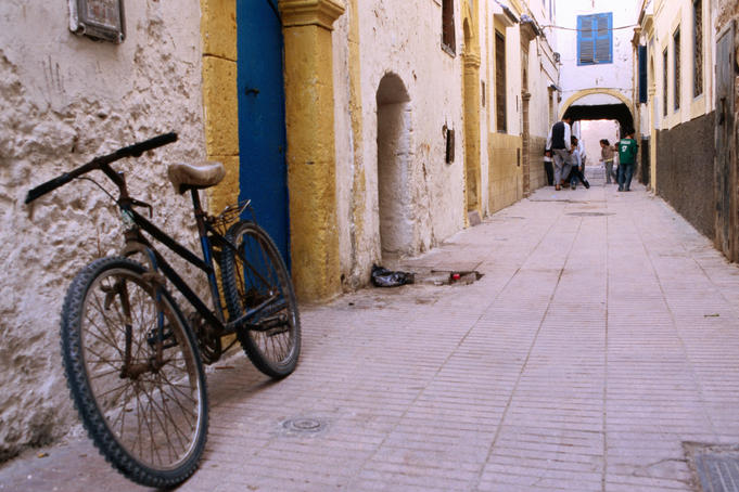 Bicycle in streets of Essaouira's medina.