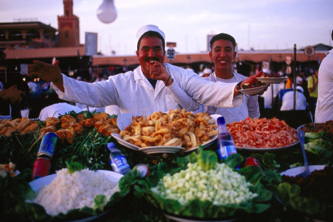 Food sellers on Djemaa-El-Fna square.