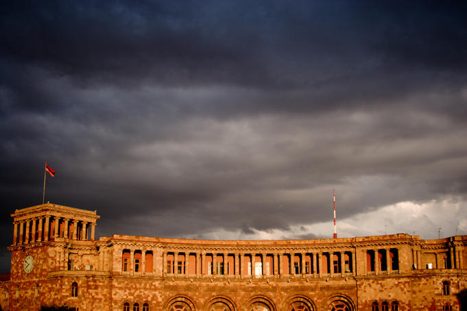 Storm clouds over Ministry of Finance and Economy building, Yerevan