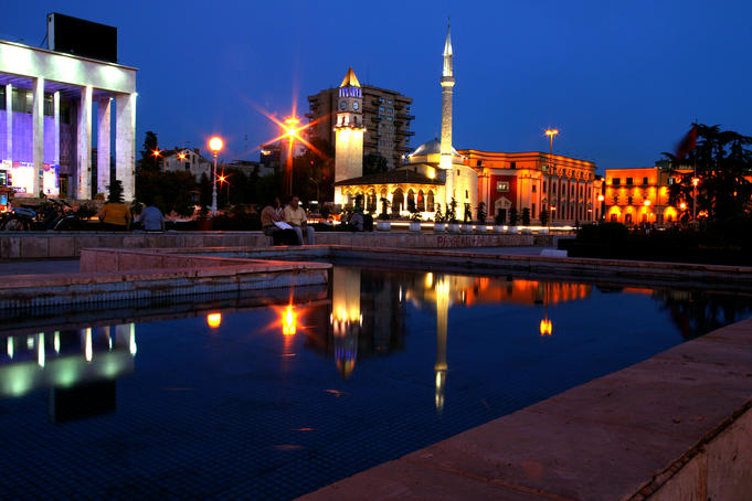 Ethem Bey Mosque, clock tower with Opera House.