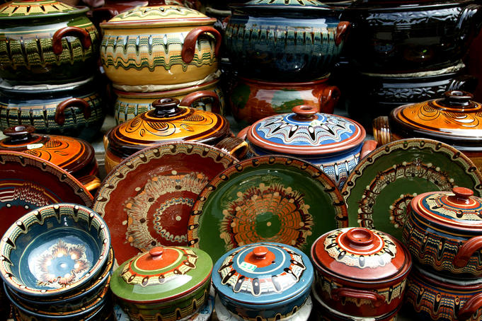 Locally produced pottery for sale at Ladies Market.