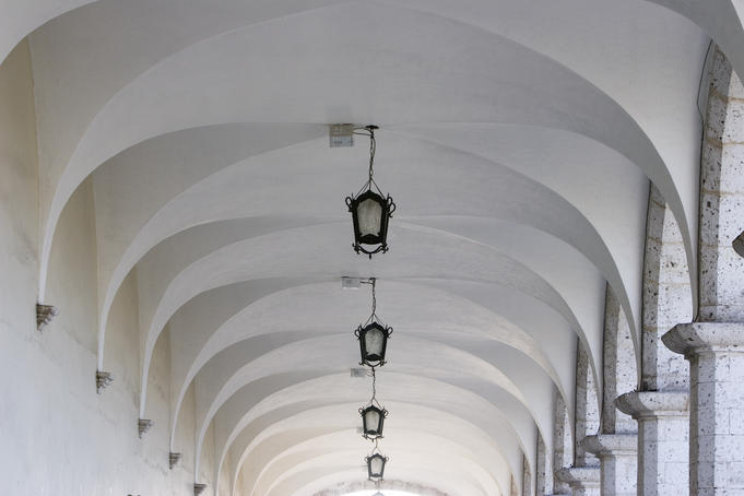 Vaulted ceiling over patio overlooking Plaza de Armas.