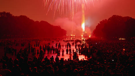 Fireworks over Washington Monument during July 4 celebrations.