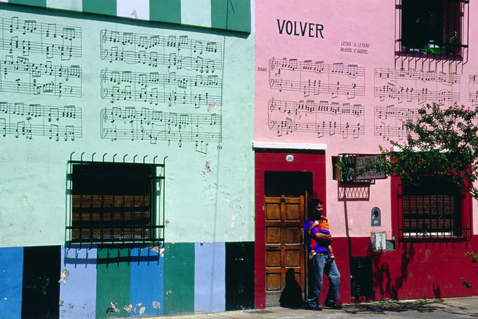 Songs of tango legend Carlos Gardel on walls of building in Buenos Aires' Abasto neighbourhood