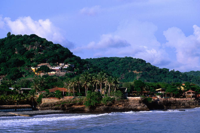 Village on Pacific coastline.