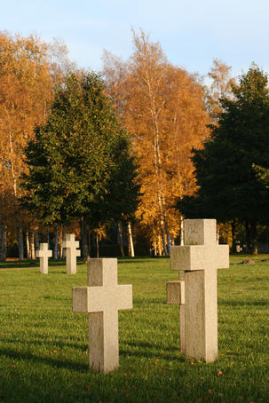 German graves near Soviet War monument.