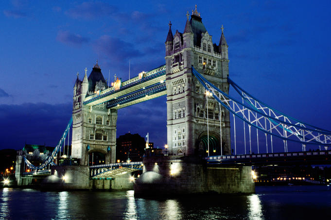 Tower Bridge and the River Thames at night - London, Greater London' England