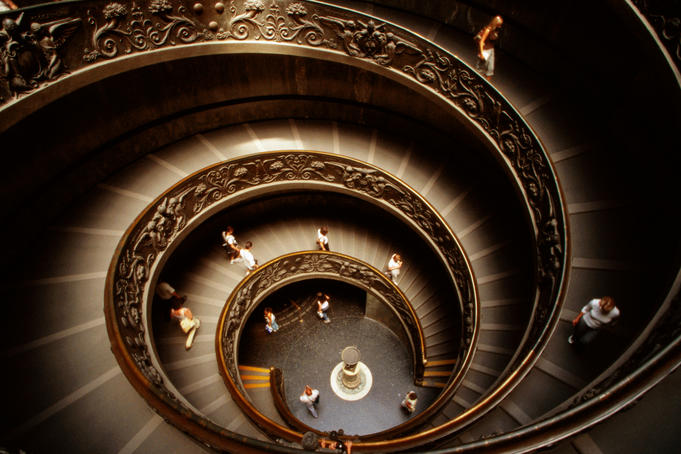 Interior staircase of Vatican Museums.