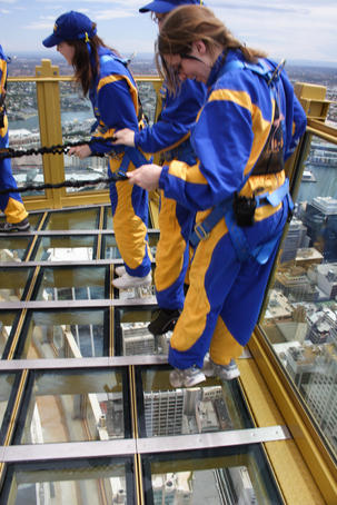People on Skywalk platform, Sydney Tower.