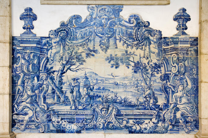 Azulejos (tiles) which dating from 18th century at Igreja de Sao Vicente de Fora, Graca.