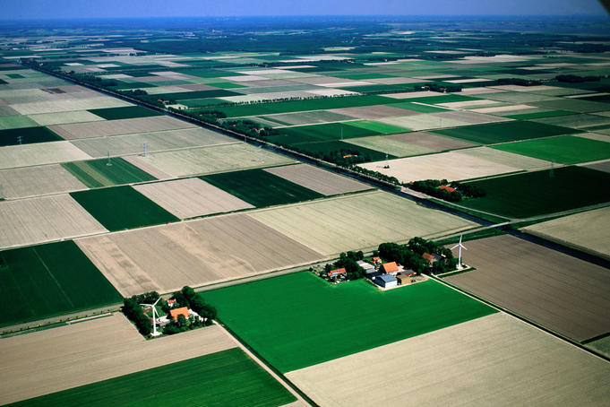 Aerial of rural fields.