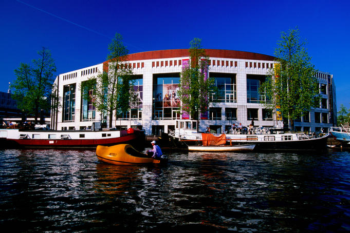 Amstel river and 'Stopera' town hall and opera house.