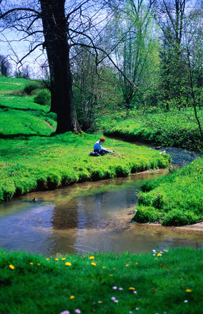 Hiker relaxing on bank of stream.