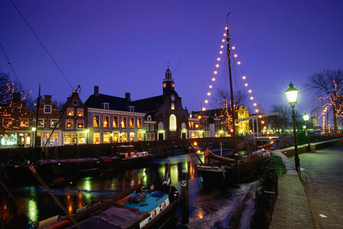 Delfshaven historic harbour at night.
