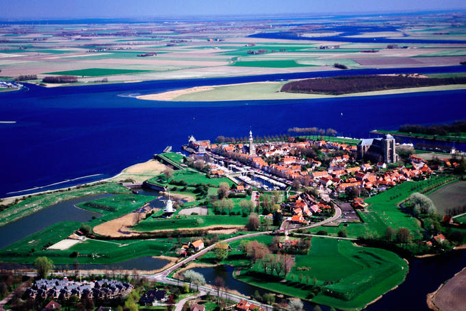 Aerial of Veerse Gat waterway.