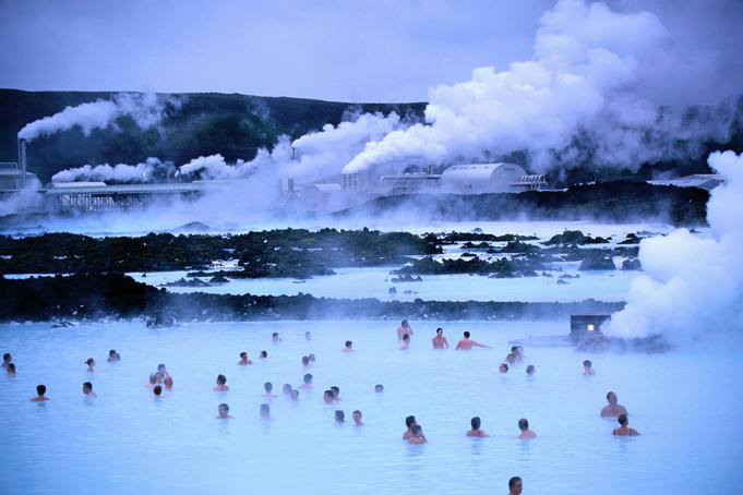 People bathing in Blue Lagoon, Reykjanes peninsula.