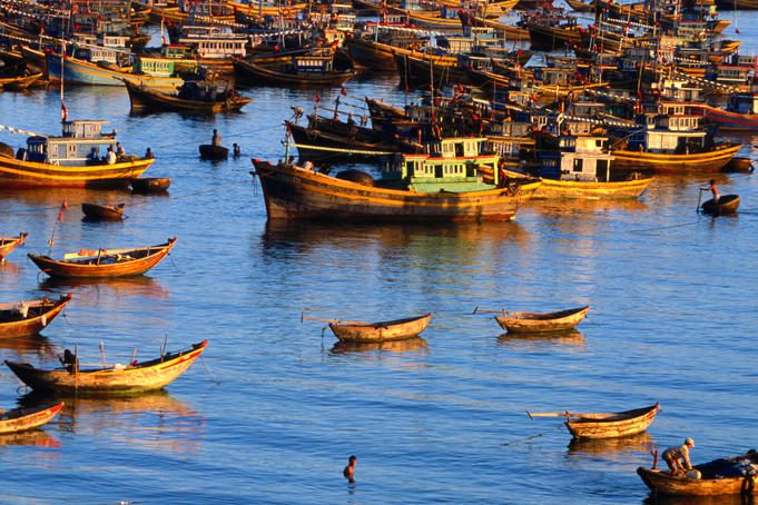 Fishing boats on Vietnam's south central coast at sunrise.