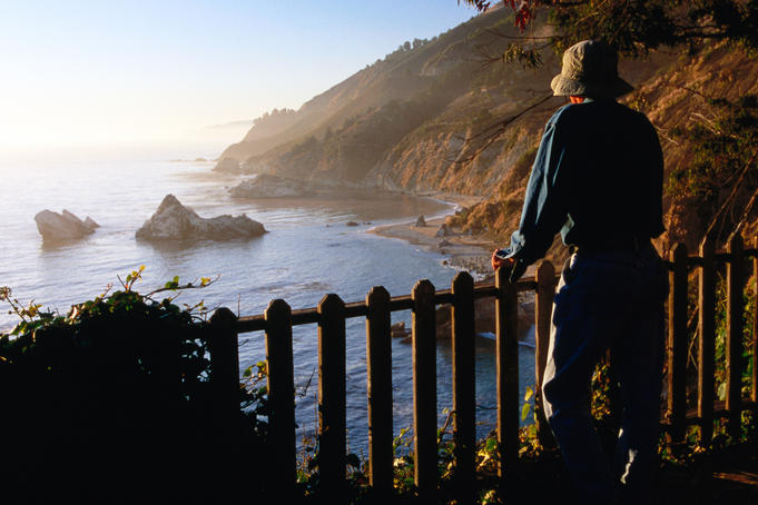 Man standing on observation deck looking at coastline, Pfeiffer Burns State Park.