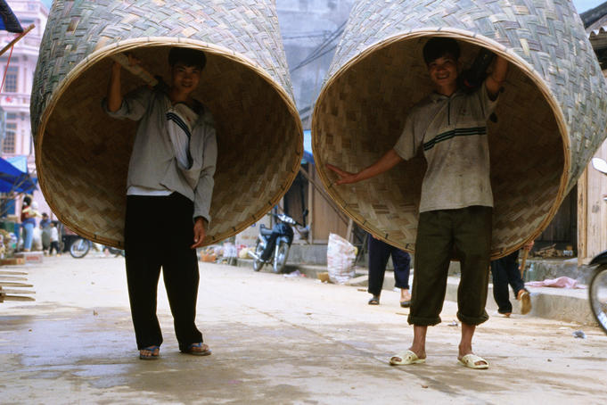 Extra large rice baskets in Vietnam's far north.