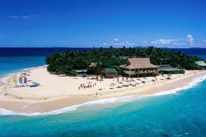 Aerial shot of Beachcomber Island resort.