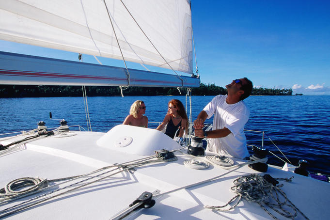 Sailing aboard Nabuk catamaran, Jean-Michel Cousteau resort, near Savusavu.