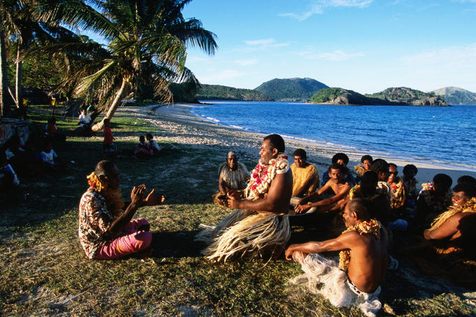 Navotua village kava ceremony on Blue Lagoon cruise.