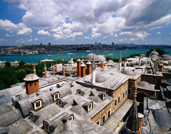 Overhead of Bosphorus taken Topkapi Palace's roof top.