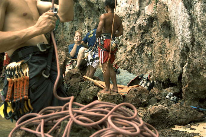People rock-climbing at Railay.