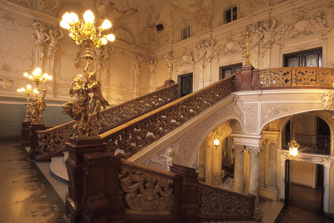 Ornate interior staircase of Odessa Opera House.