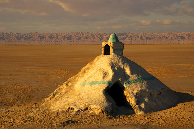 Mausoleum made entirely from salt at Chott el Jerid, south of Tozeur.