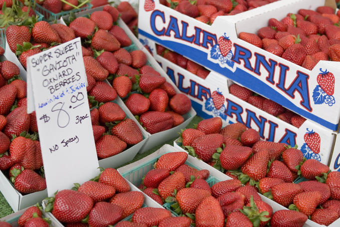 Detail of strawberries for sale at Santa Monica Farmer's Market.