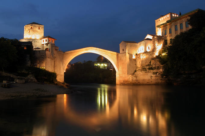 Stari Most (Old Bridge) at night.